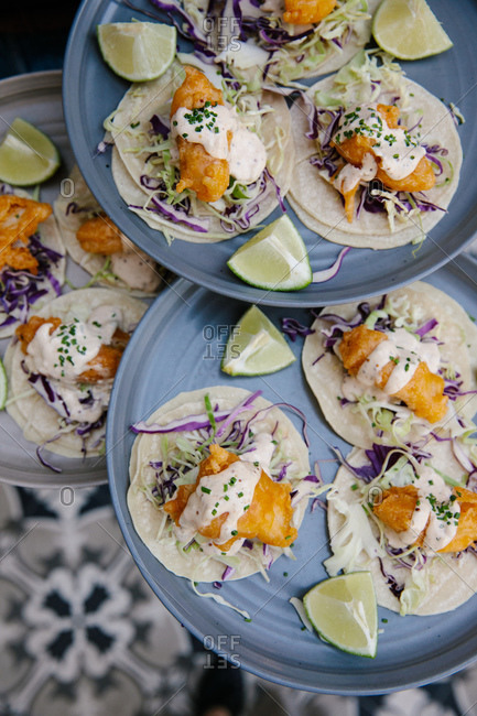 Fish tacos served in a restaurant from above