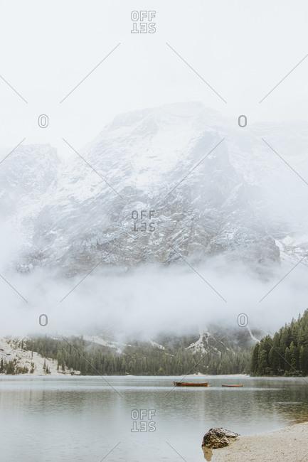 Mountain Lake, Lago Di Braies, Dolomites, Alto Adige, Italy, Europe