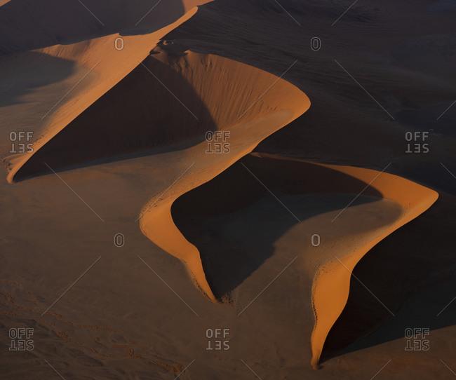 Abstract aerial view of Namib Sand Sea, Sossusvlei, Namibia