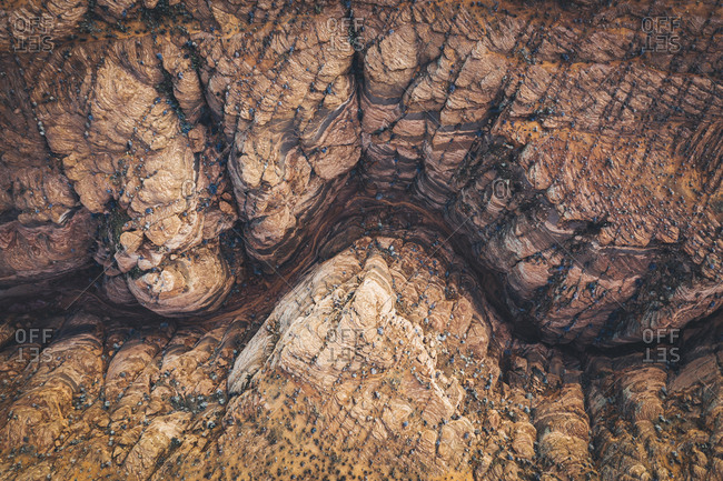 Aerial view of a slot canyon in Arizona