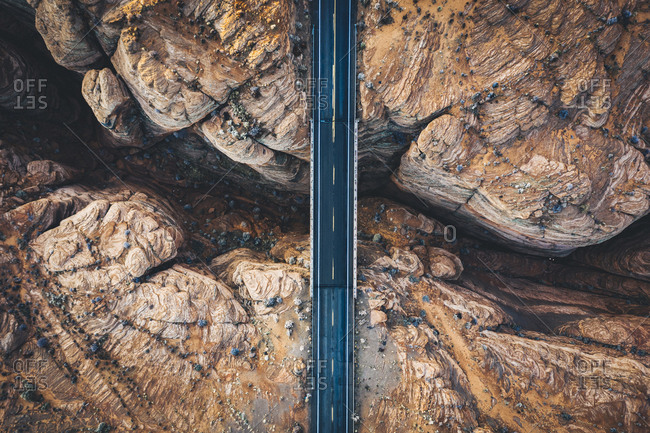 A slot canyon with a crossing road in Arizona