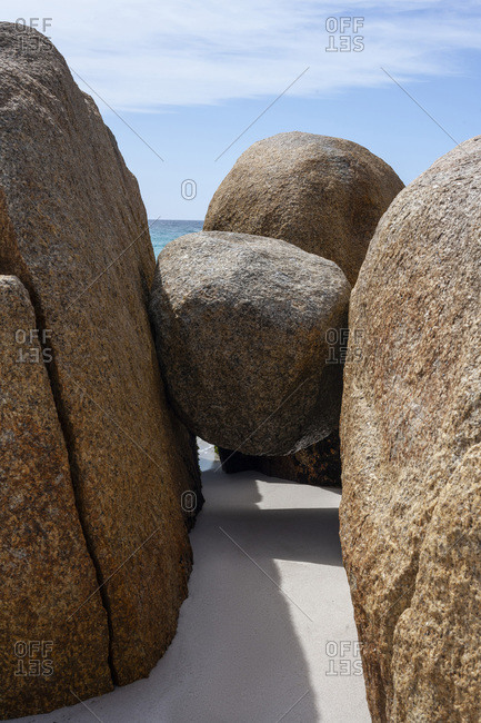 A Granite Stone Suspended above the Sand at Bay of Fires Tasmania