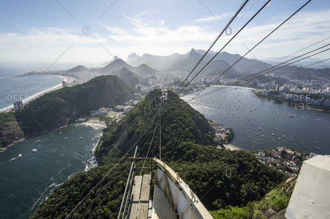 Beautiful view to Sugar Loaf Mountain cable car, city and ocean