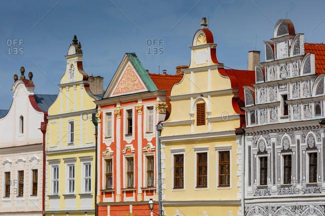 Historic architecture in the main square of Talc, Czech Republic.