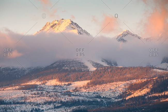 Winter landscape with High Tatras mountain range in northern Slovakia.