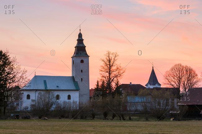 Gothic church in the village of Dolna Stubna, Turiec region, Slovakia.