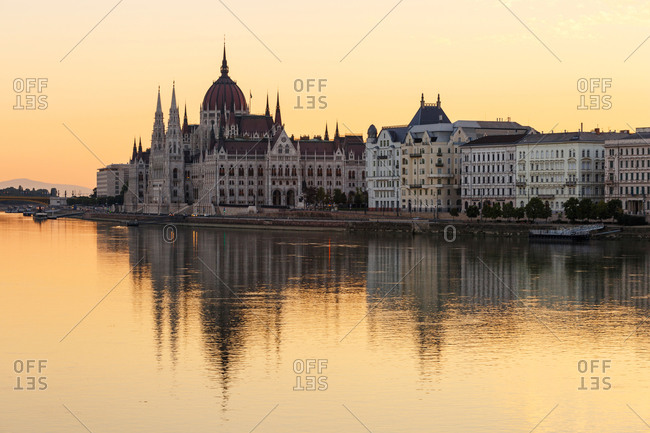 Morning view of city center of Budapest over the river Danube.