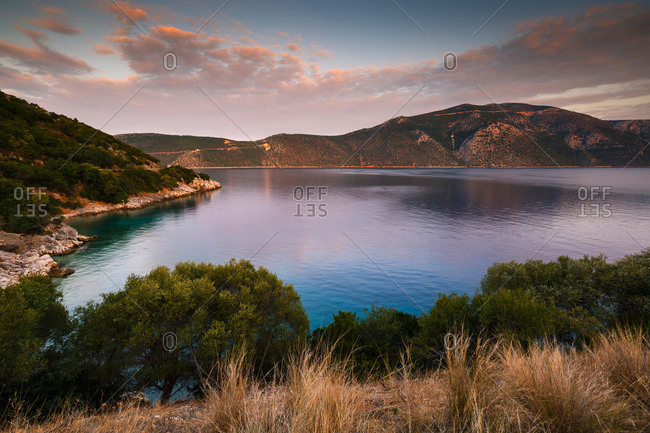 Morning view of Molos Gulf in Ithaca island, Greece.