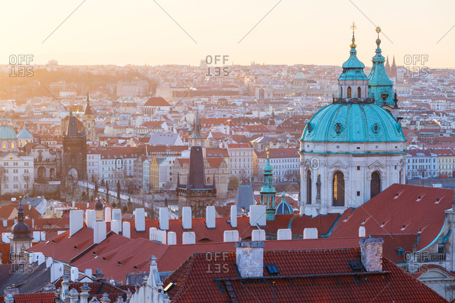 Sunrise view St Nicholas Church and the old town of Prague.
