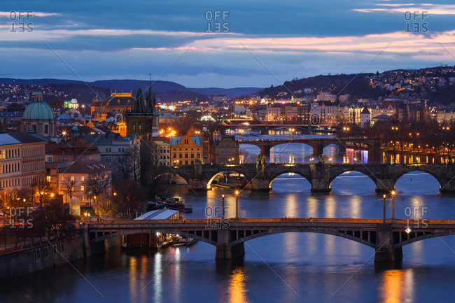 Evening view of the historical city center of Prague and river Vltava.