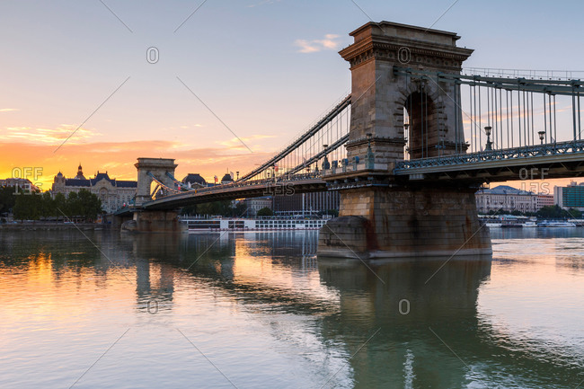 Morning view of city center of Budapest over river Danube, Hungary.