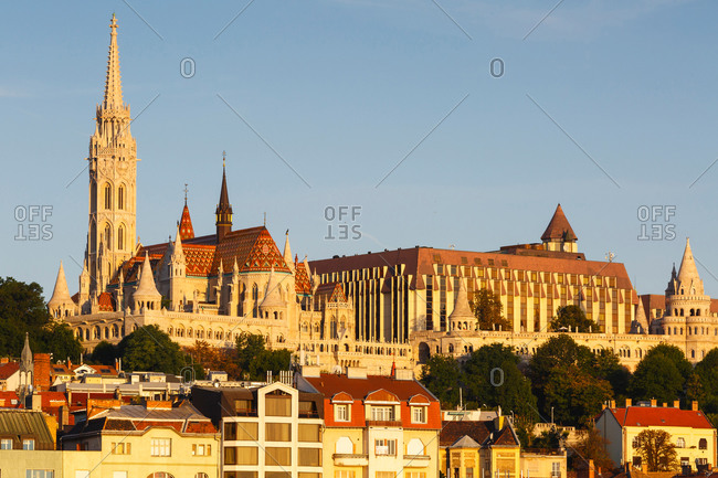 Morning view of historic city center of Buda, Hungary.