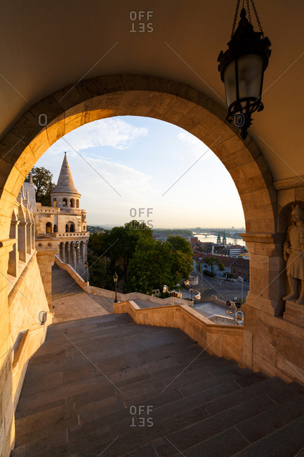 Morning view of Fisherman's Bastion in historic city center of Buda.