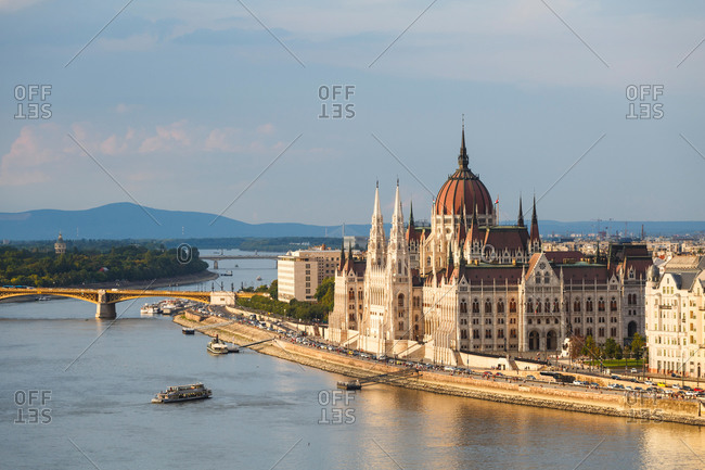 View of Hungarian parliament from the Buda castle in Budapest.
