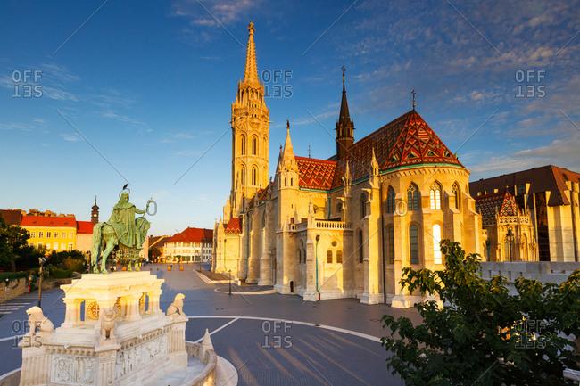 Morning view of Matthias church in historic city center of Buda.