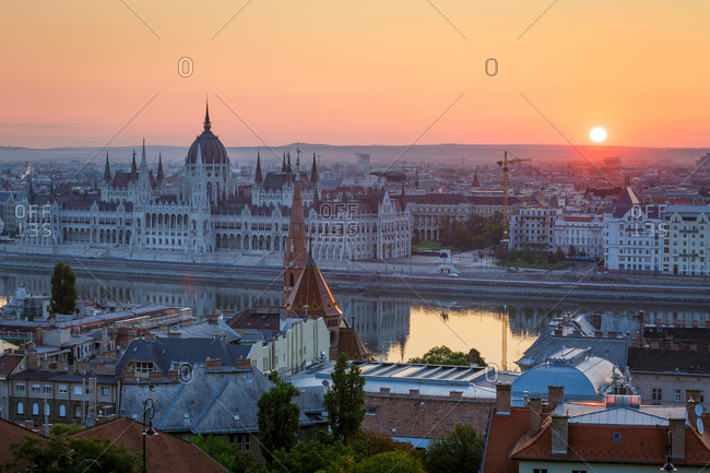 View of Hungarian parliament over river Danube.