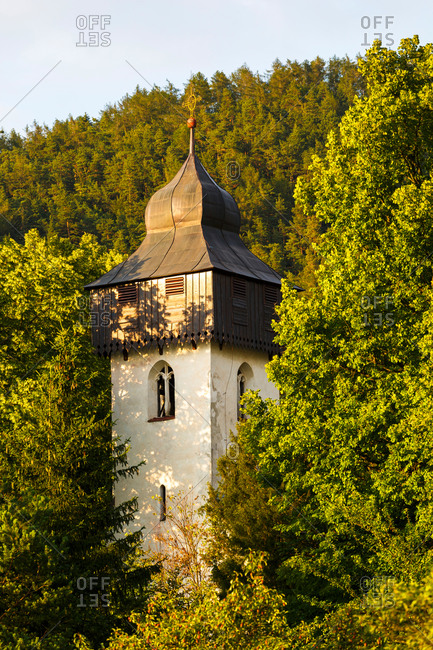 Bell tower of a church in Necpaly willage in Turiec region, Slovakia.