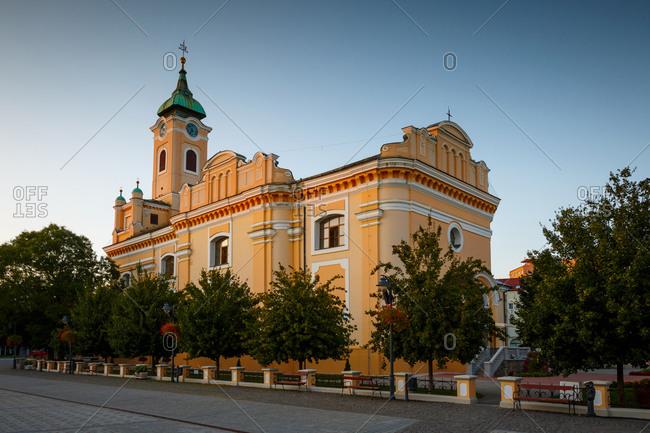 Baroque church in the main square of Topolcany, Slovakia.