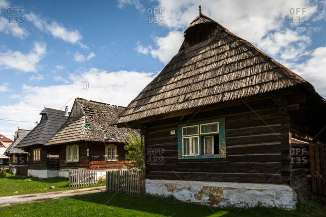 Traditional log cabins in folk architecture preservation area, Orava.
