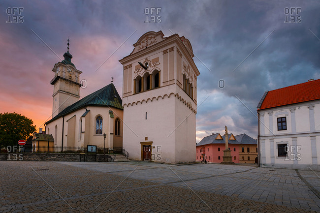 Church, bell tower and town hall in the main square of Spisska Sobota.