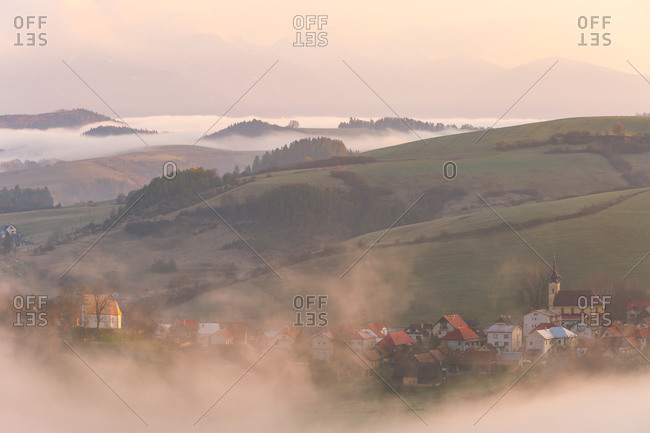 Village in Turiec region on a fogy morning, northern Slovakia.