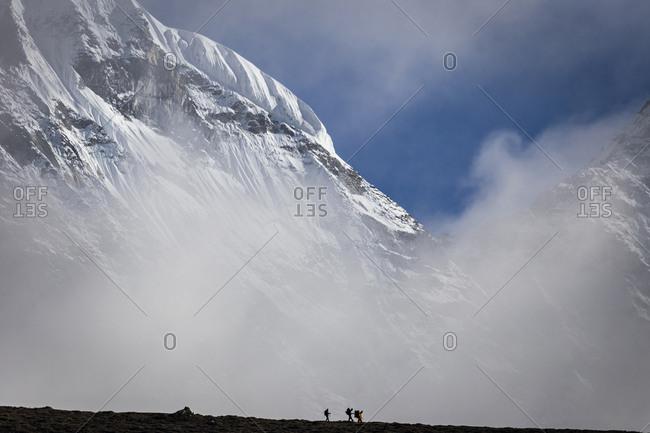 Mountaineers climbing Ama Dablam the Everest region of Nepal