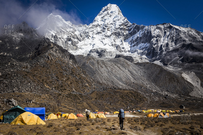 Tents at Ama Dablam Base Camp in the Nepal Himalaya, Everest Region
