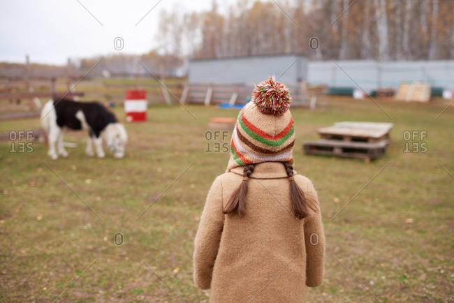 Unrecognizable Little Girl On Horse Farm Back View