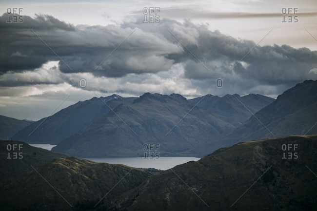 Lake Wakatipu seen from high in the mountains near Queenstown, NZ