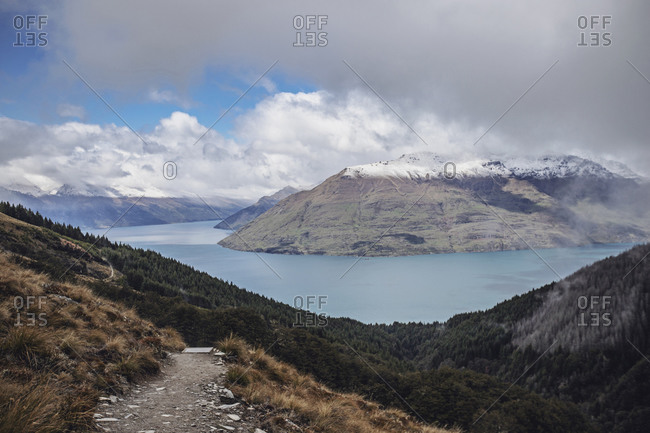 View of Lake Wakatipu from Ben Lomond trail, Queenstown, New Zealand