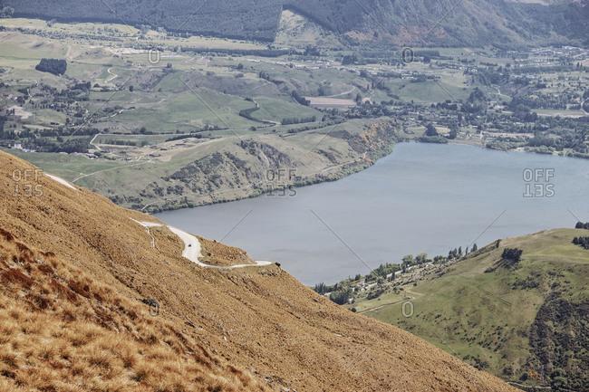 Dangerous road switchbacks up a mountainside in New Zealand