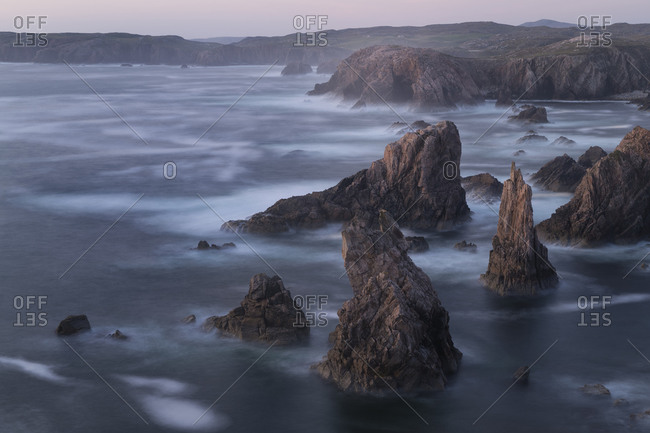 Jagged coastal sea stacks at Mangersta, Isle of Lewis, Outer Hebrides, Scotland