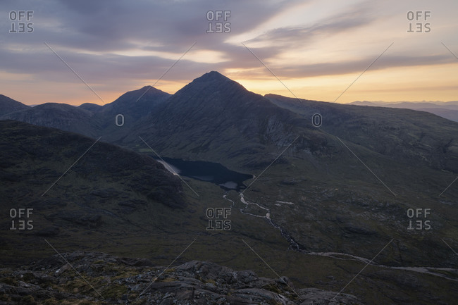 View over Bla Bheinn - Blaven and black Cuillin mountains from summit of Sgurr Na Stri, Isle of Skye, Scotland