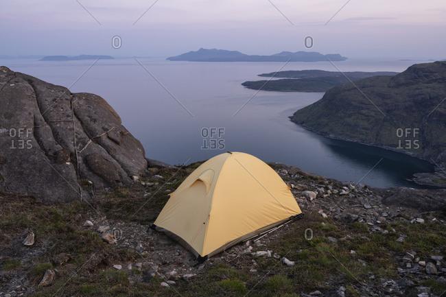 Tent camping on summit of Sgurr Na Stri, Isle of Skye, Scotland
