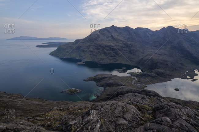 View over Loch Coruisk and black Cuillin mountains from summit of Sgurr Na Stri, Isle of Skye, Scotland