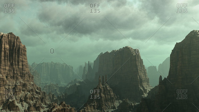 Digitally created image of a desert mountain landscape
