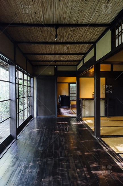 Kyoto, Japan - December 29, 2019: Interior of a Japanese traditional house