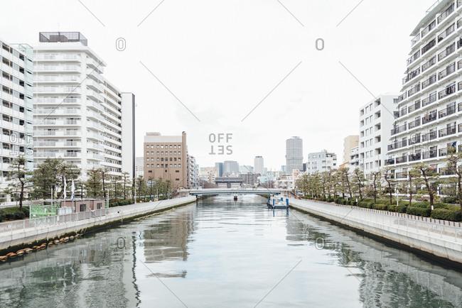 Tokyo, Japan - February 10, 2020: River and bridge in East Tokyo