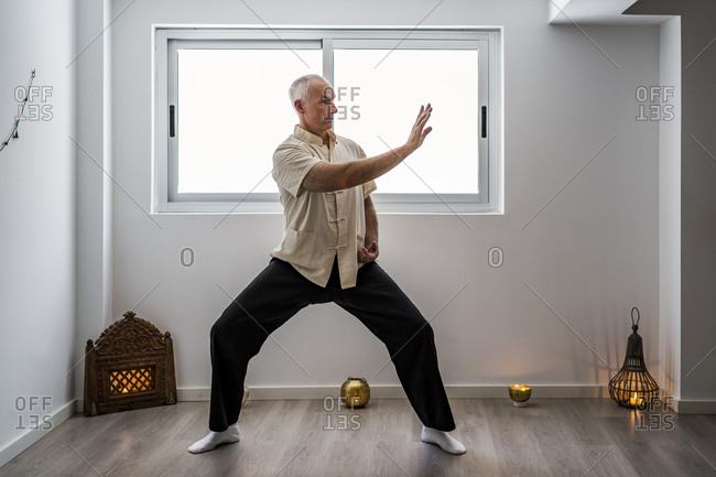 Man practicing martial arts in gym