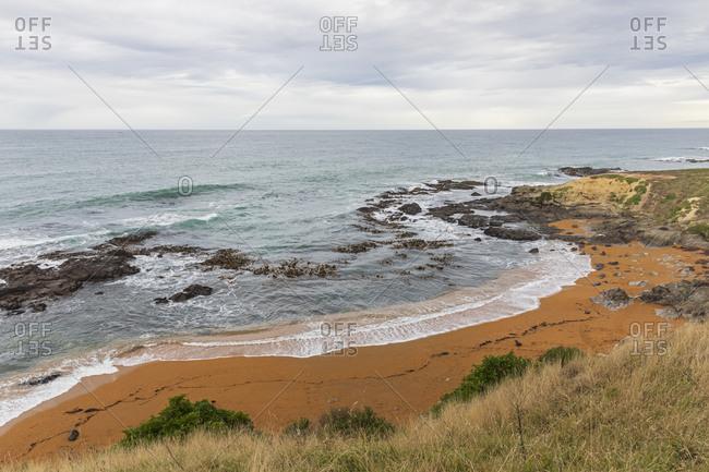 Oceania- New Zealand- South Island- Southland- Otago- Moeraki- Katiki Point- View of beach and ocean