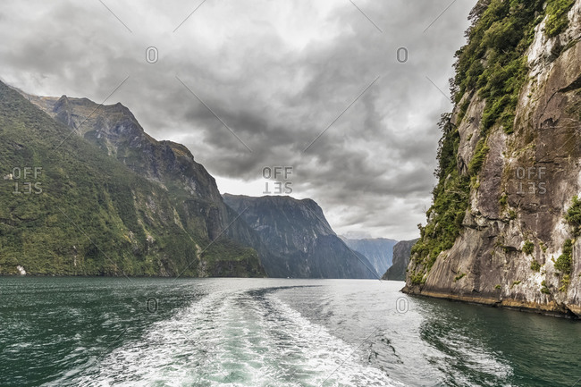 New Zealand- Oceania- South Island- Southland- Fiordland National Park- Milford Sound- Wake on water