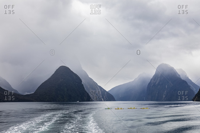 New Zealand- Oceania- South Island- Southland- Fiordland National Park- Mitre Peak and wake on Milford Sound