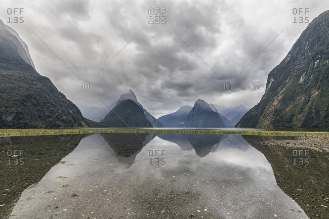 New Zealand- Oceania- South Island- Southland- Fiordland National Park- Mitre Peak and Milford Sound beach at low tide with green algae on pebbles