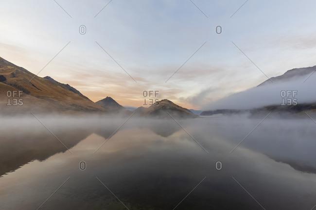 New Zealand- Oceania- South Island- Otago- Closeburn- Moke Lake in morning fog