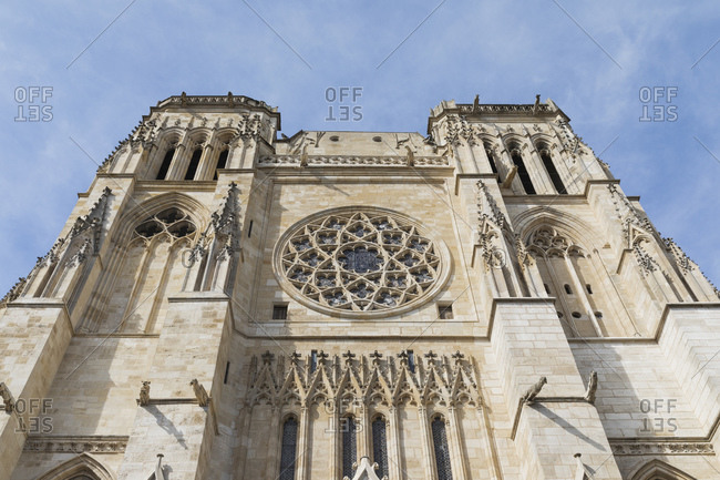 France- Gironde- Bordeaux- Low angle view of south facade of Bordeaux Cathedral