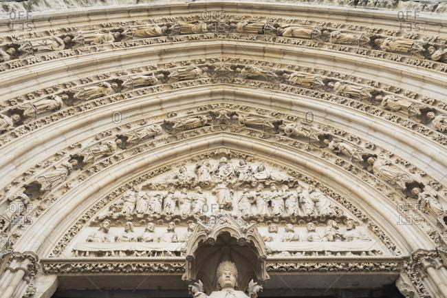 France- Gironde- Bordeaux- Ornate details of Door of Arrows