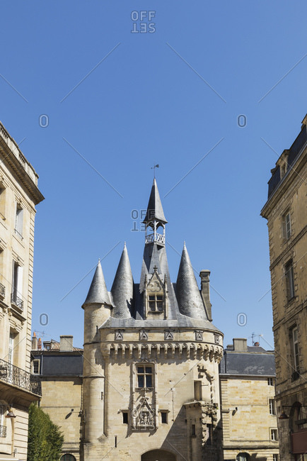 France- Gironde- Bordeaux- Clear blue sky over Porte Cailhau medieval gate