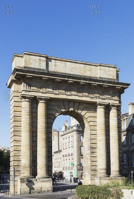 September 12, 2019: France- Gironde- Bordeaux- Clear sky over Gate of Burgundy