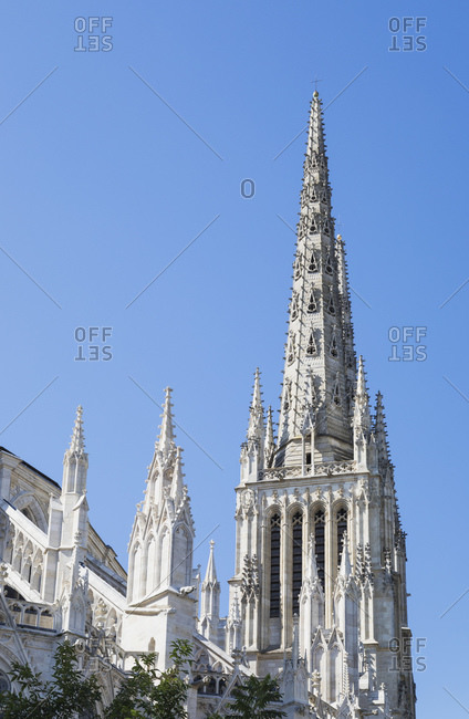 France- Gironde- Bordeaux- Low angle view of spires of Bordeaux Cathedral