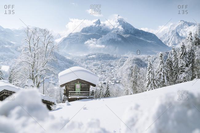 October 14, 2018: Germany- Bavaria- Berchtesgaden- Mountain hut and Watzmann in deep snow